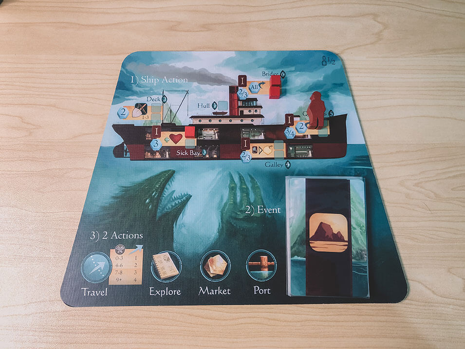 The Sleeping Gods ship board lets you choose a ship action at the start of your turn